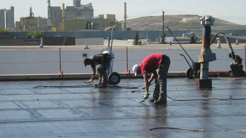 roofing work on a commercial flat roof